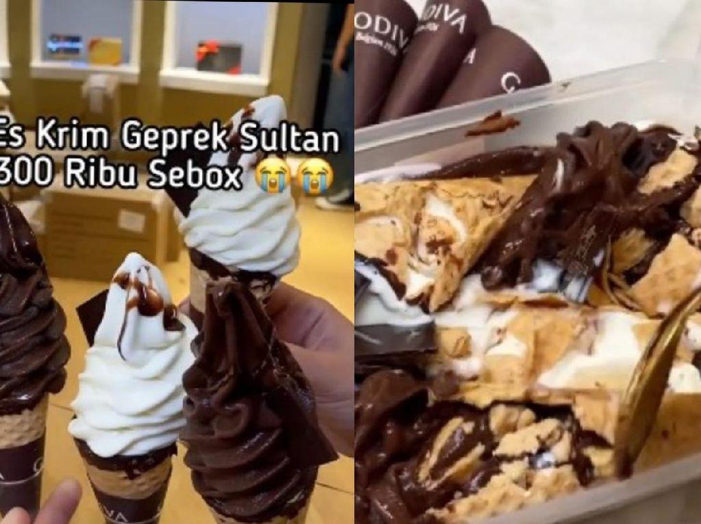 5 Kreasi Es Krim Geprek Viral, Ada yang Pakai Es Krim Sultan