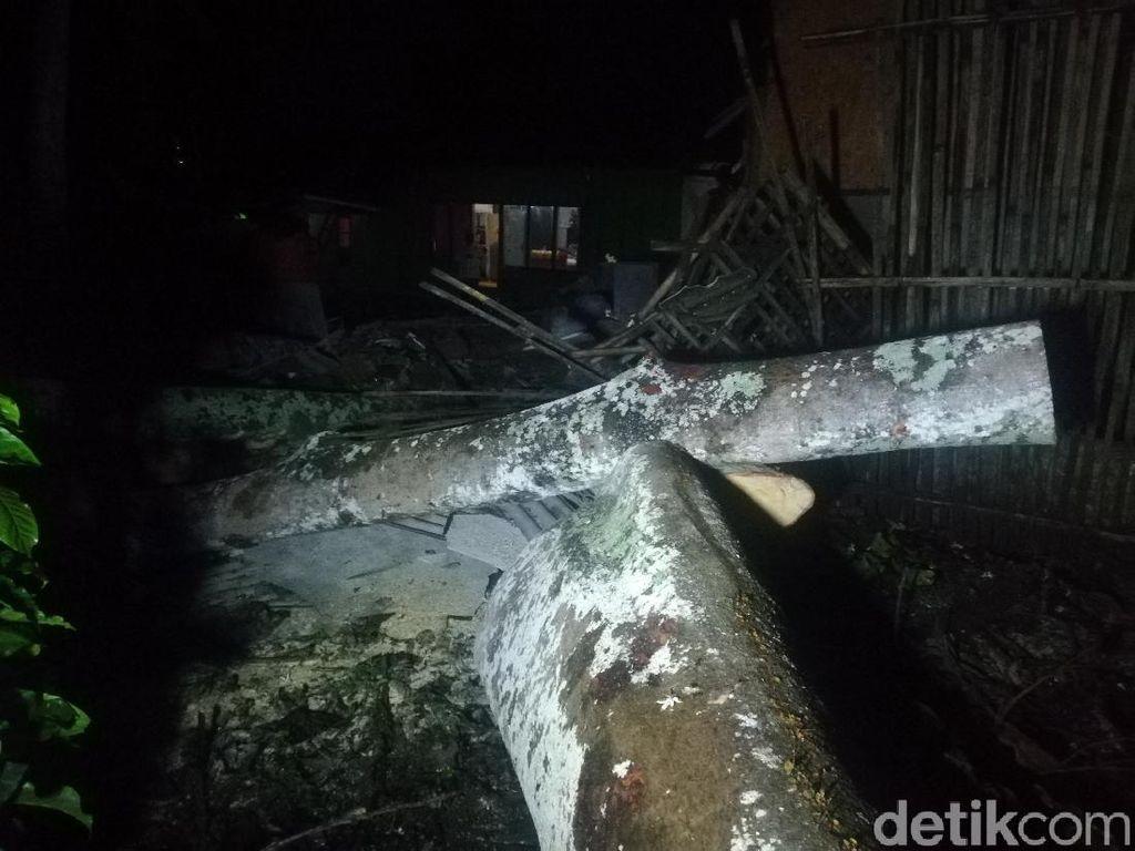 Pohon Besar Tumbang Timpa 2 Rumah Warga di Sumedang