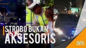 Polisi Razia Kendaraan dengan Lampu Strobo