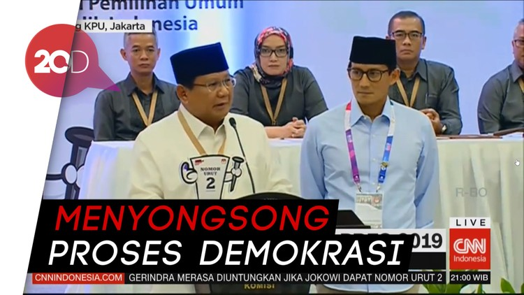 Prabowo Dukung Pilpres 2019 Berlangsung Sejuk dan Damai