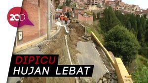 Ngeri, Saat Aspal di Bolivia Ambles Akibat Longsor