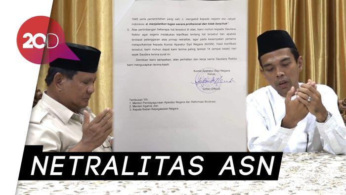 Dialog UAS-Prabowo Berujung Permintaan Klarifikasi dari KASN