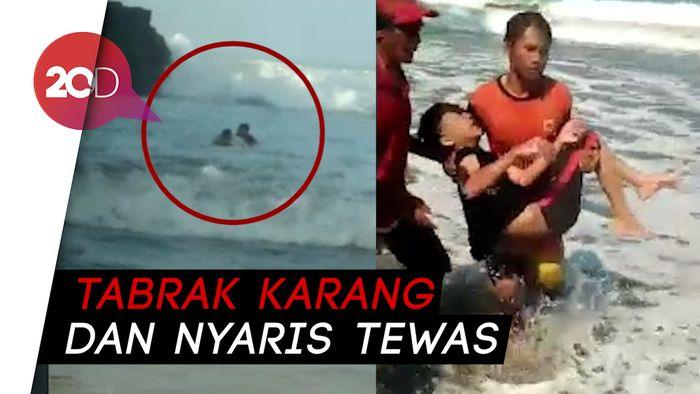 Detik-detik Penjaga Pantai Tergulung Ombak saat Selamatkan Wisatawan