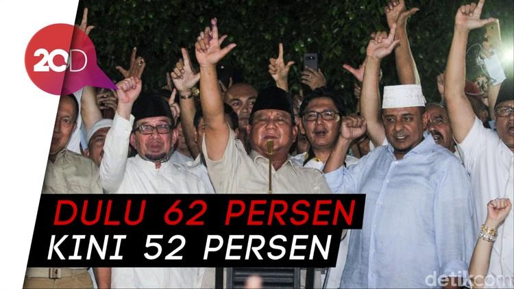 Klaim Kemenangan Prabowo-Sandi yang Angkanya Terus Berubah