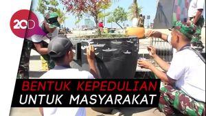 Peringati HUT TNI, Lantamal Makassar Bikin Mural dan Posko Kesehatan