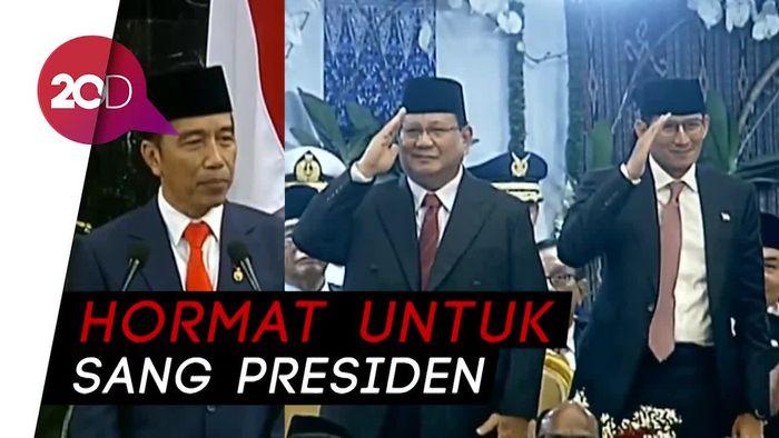 Hormat Prabowo-Sandi Kala Disebut Sahabat Baik oleh Jokowi