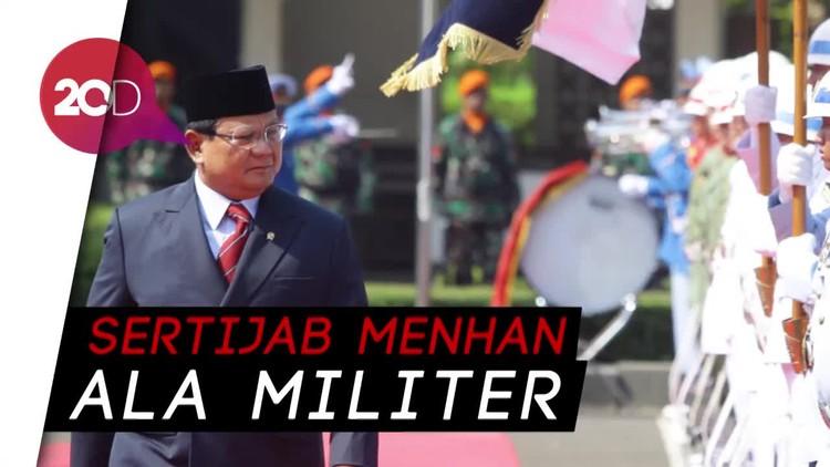 Gagahnya Upacara Militer Sambut Sertijab Menhan Prabowo