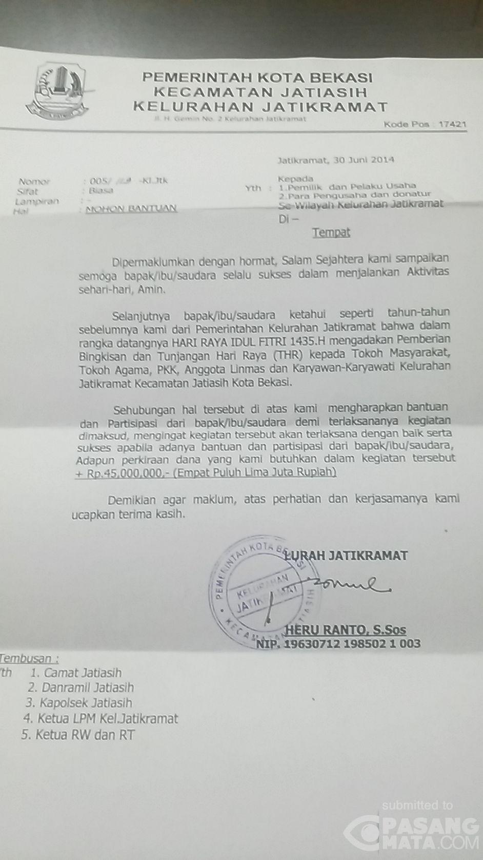 Ini Penampakan Surat Permohonan Bantuan Untuk Thr Di Bekasi Umum