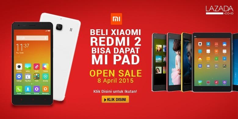 Beli Xiaomi Redmi 2 di LAZADA pada 8 April, Bisa Dapat Mi Pad Gratis!