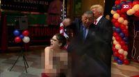 Aksi Topless Aktivis Femen di Peresmian Patung Trump
