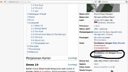 Ssttt...Mulan Jameela \Istri Siri Ahmad Dhani\ di Wikipedia!