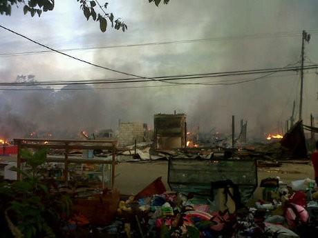 Kutai Barat Masih Mencekam, Pasar Tradisional Ludes Dilalap Api