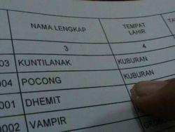 Ada Nama-nama Hantu di DPS Pilgub Jateng, dari Pocong Hingga Vampir