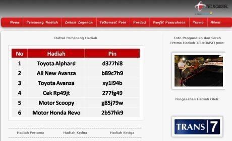 Screenshot Situs palsu Telkomsel
