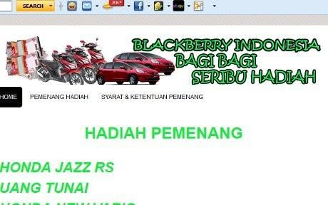 Screenshot situs abal-abal undian BlackBerry