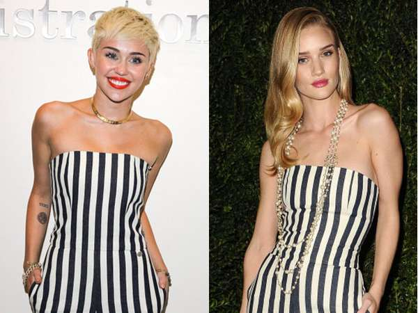 Stripes Attack Rosie Huntington-Whiteley vs Miley Cyrus