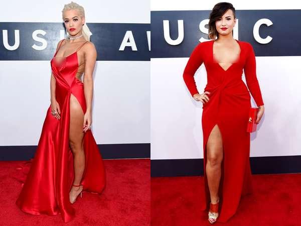 Gaun Merah Rita Ora vs Demi Lovato, Siapa Lebih Hot?