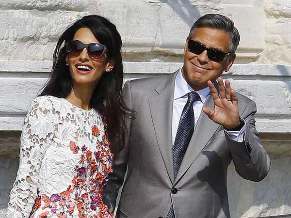 Wajah Bahagia Pengantin Baru, George Clooney dan Amal Alamuddin