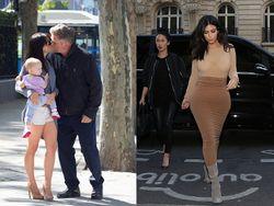 Alec Baldwin Kecup Mesra Sang Istri, Busana Ketat Kim Kardashian