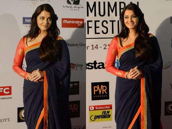 Aishwarya Rai Anggun dengan Sari di Festival Film Mumbai
