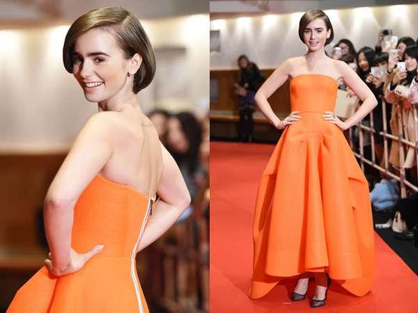 Orange is the New Black! Lily Collins Cantik Bergaun Oranye