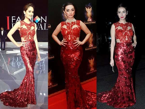 Siapa Lebih Seksi Bergaun Merah Ini, Zaskia 'Gotik', Cinta Laura atau Velove Vexia?