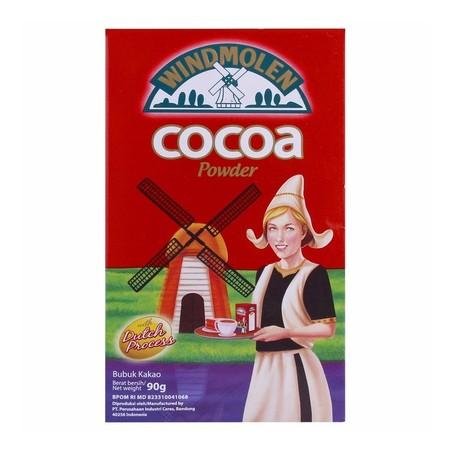 WINDMOLEN COCOA POWDER Kemasan 90gr terbuat dari biji kakao berkualitas tinggi, diolah dengan teknologi tinggi dan standar pengawasan mutu yang ketat, menghasilkan bubuk kakao murni dengan cita rasa dan kualitas yang terjamin dan dipercaya secara turun te