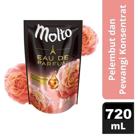 Keharuman Bunga Mawar Untuk Pancaran Kemewahan Yang Bertahan Sepanjang Hari.    Keunggulan Molto Edp Lainnya:  - Dengan Keharuman Parfum Perancis Yang Tahan Sepanjang Hari  - Konsentrat, Cukup Setengah Tutup Botol