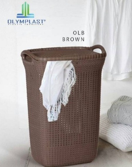 LAUNDRY BASKET OLYMPLAST BROWN Made from a strong plastic and odorless with a modern design and lid. Multi-functional basket, besides being used as dirty and clean clothes, can also be used as a storage of goods or the other.