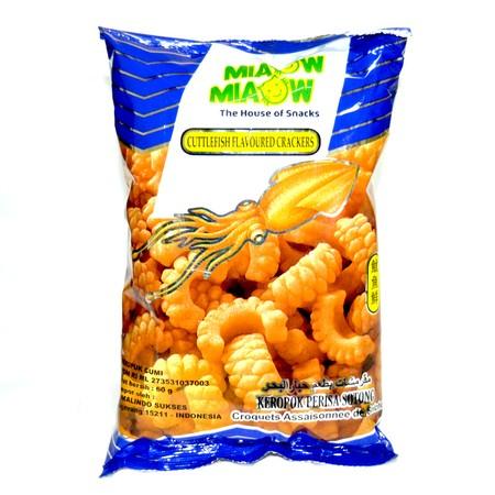 MIAOW MIAOW Cuttlefish Crack [60 g], Snack dengan cita rasa gurih dan varian rasa yang unik dapat memanjakan lidah dan tentunya mudah dibawa kemana mana sehingga dapat dinikmati oleh siapapun. Rasa Cuttlefish Flavoured Crackers.