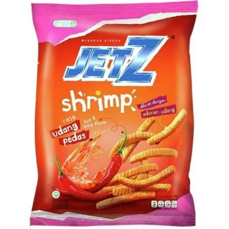 Jetz Shrimp Udang Pedas  Merupakan Makanan Ringandengan Rasa Udang & Pedas Yang Nikmat. Diproses Secara Higenis Dan Praktisserta Cocok Untuk Dinikmati Kapanpun.    Komposisi : Pati Kentang, Serpihan Kentang (Mengandung Antioksidan Askorbil Palmitat), Miny