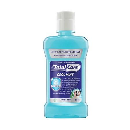 Dengan kandungan Peppermint sebagai perlindungan total untuk nafas segar & mulut bersih dan mengandung Anti Bacterial Alami Tea Tree Oil di semua varian, dapat membunuh 99% bakteri yang ada dimulut sehingga kebersihan mulut terjaga.  Total Care Mouthwash
