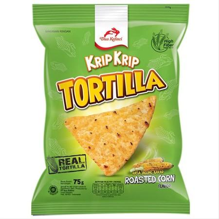 KRIP KRIP Tortilla Chips, Snack jagung khas mexico. Dibuat dari 100% jagung asli pilihan berkualitas dan bermutu tinggi, diproses dengan teknologi modern, sehingga menghasilkan paduan kelezatan rasa yang istimewa