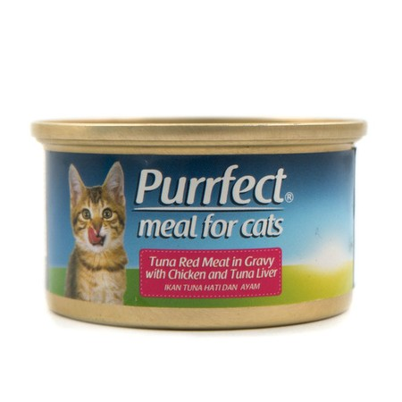 Cat Food. Tuna Red Meat in Gravy with Chicken