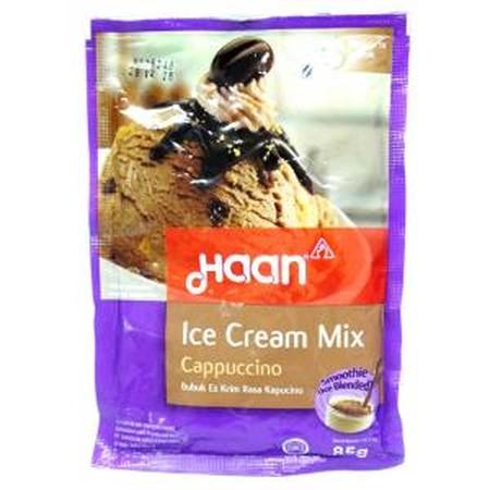 Saatnya membuat eskrim sendiri dengan cara yang mudah dengan menggunakan Haan Ice Mix, Bubuk es krim yang mudah dan praktis dengan rasa Cappucino yang nikmat.