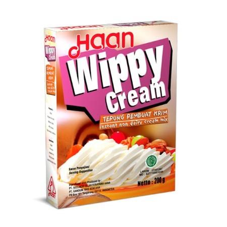 Whip cream instan yang mudah untuk dibuat, cukup dengan menambahkan air atau susu dingin untuk mendapatkan whip cream yang bisa digunakan untuk keperluan memasak anda.