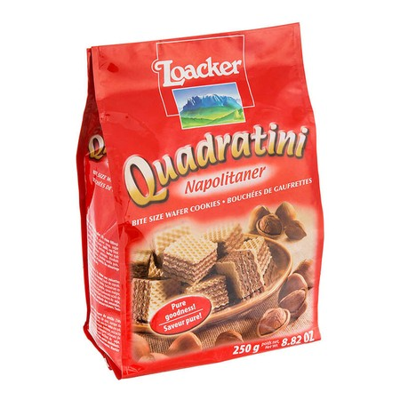 Enjoy An Unrivalled And Delicious Flavour Experience With Quadratini! The Bite-Size, Crunchy Cubes With Five Light, Crispy Wafers And Four Layers Of The Smoothest Cream Filling Will Tempt You To Enjoy More Than One. Delicious Cube Shaped Hazelnut Pleasure