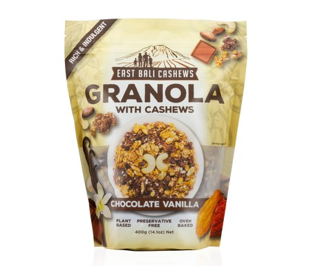 Our gourment chocolate vanilla granola bites are a combination of tasty clusters of rolled oat, the freshest cashews and nutritious ed rice with an infusion of cacao and vanilla. 100% Natural. No Added Preservatives. Gluten Free