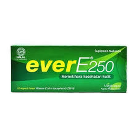 Ever E Mengandung 250 IU vitamin E D  Alpha Tocopherol tunggal dan berbalut cangkang rumput laut yang bekerja untuk memelihara kesehatan kulit. Cukup dikonsumsi 1 kapsul per hari. Ever E 250 bersifat sebagai antioksidan yang berfungsi meredam efek radika