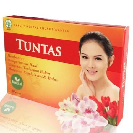 Tuntas Kaplet Herbal Khusus Wanita merupakan obat herbal untuk melancarkan siklus haid serta membantu meredakan nyeri haid, pegal, dan sakit otot pinggang di waktu haid