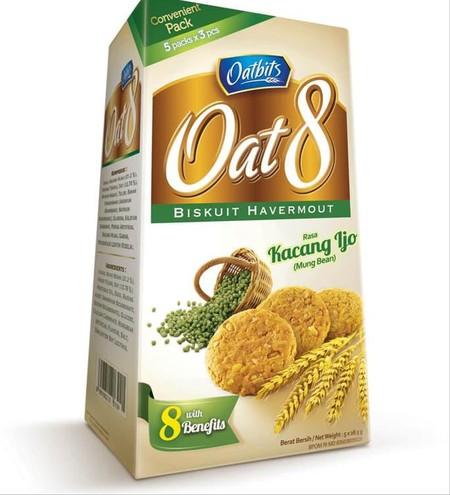 Biskuit Oat 8 varian Kacang Hijau (Mung bean) yang dibuat dengan perpaduan Oat dan kacang hijau pilihan yang memiliki kandungan yang bermanfaat bagi tubuh. Tersedia dalam kemasan berbentuk Box dan Sachet | Komposisi: Gula, kacang hijau (21,20%), tepung te
