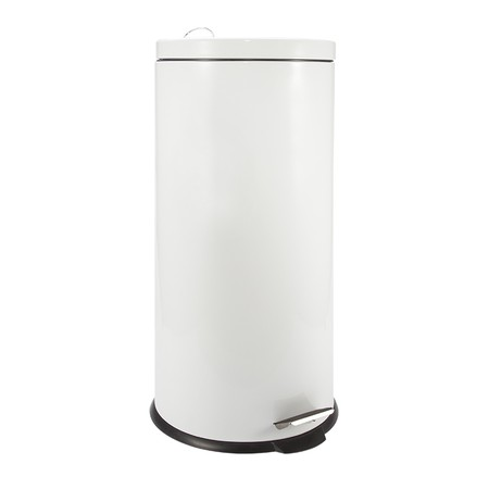 Stainless steel dustbin with elegant design. Size: 20Liter. Material: stainless steel + powder coating. Color: White Suitable to complete the design of a modern room.