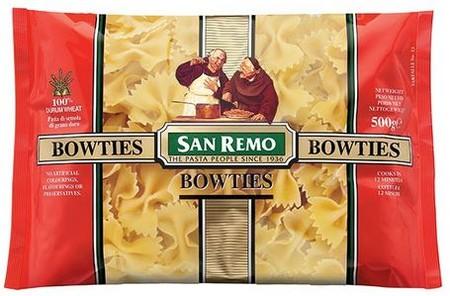San Remo Bowties Pasta [500 G] Adalah Pasta Yang Terbuat Dari Bahan-Bahan Pilihan Dan Memiliki Tekstur Kenyal & Lembut Setelah Dimasak. Ideal Dipadu Padankan Dengan Saus Tomat, Saus Krim Kental Ataupun Jenis Saus Pasta Lainnya Sesuai Selera.