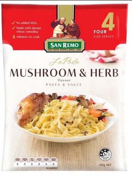 No Msg. 8 Minutes To Cook. Made With Durum Wheat Semolina Ingredients: Pasta(80%), Milk Solids(Cream Powder), Whey Powder, Whole Milk Powder), Thickeners(Wheat Starch,1422), Beverage Whitener, Maltodextrin, Flavours, Romano Cheese, Dried Mushroom, Salt, O