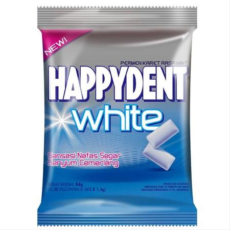 HAPPYDENT White Mint merupakan permen karet dengan kandungan bahan istimewa yang mampu membuat gigi putih cemerlang sekaligus memberikan sensasi dingin dan menyegarkan di mulut. Mengandung Baking Soda yang dapat membantu menjaga gigi tetap putih, serta fo