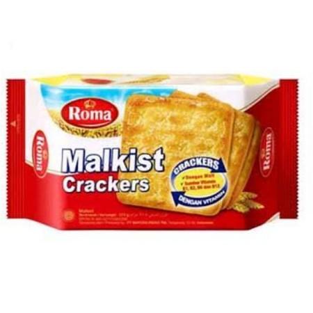 ROMA Malkist Crackers 250g. Roma Malkist Crackers merupakan biskuit dengan aroma yang khas dari Roma. Malkist crackers yang renyah dengan taburan gula yang manis