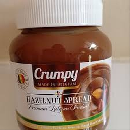 Crumpy Hazelnut Spread New Jam 400 Gr Is A Spread Based On Hazel Nuts And Chocolate. Suitable As A Complement To Breakfast With Bread. Composition: Sugar, Vegetable Oil, Hazel Beans, Cocoa Powder (Fat Reduced Cacao), Emulsifying Sunflower Lecithin, Artifi