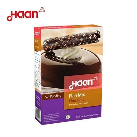 Mau bikin soft puding anti gagal? Pakai saja Haan Flan Chocolate Instant Flan Mix. Siap pakai, sangat mudah dan praktis digunakan, tanpa melalui proses pemanggangan.