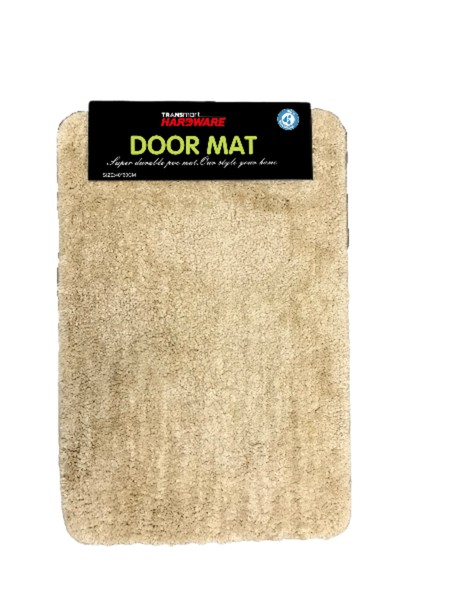 Soft doormat with furry surface. Leather look alike. Made from microfiber + TPR Size 40x60, Thickness 12MM,  Anti-slip Available in 2 colors light brown and dark brown. Suitable for indoors use to complete the aesthetics of family room or bedroom.