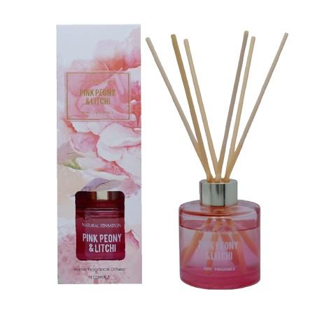 Diffuser dengan aroma mewah lengkap dengan Tongkat Reed Rotan, Minyak Esensial yang wangi, botol kaca dan kotak produk yang cantik.  Pengharum Udara cocok digunakan disegala ruangan  Brand: OKIDOKI Materials: solvent, fragrance, additive, with 12% premium fragrance Product Size: 100 ML varian: Pink Peony & Litchi
